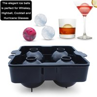 Wholesale Ice Sphere Molds - Reusable Ice Ball Maker Mold Black Flexible PP Material Ice Tray - Molds 14.1x 14.1 x 6.3cm Round Ice Ball Spheres