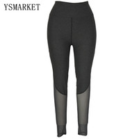 Wholesale High Waist Mesh Leggings - 2017 Hot Womens High Waist Comfort Casual Gym Clothes Slim Leggings Fitness Pants Mesh Spliced Capris Female Sportswear 79645