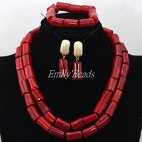 Wholesale Real Coral Necklaces - 2 Row Natural Red Real Coral Beads Necklace Earrings Bracelet Jewelry Set African Wedding Nigerian Beads Set CJ590
