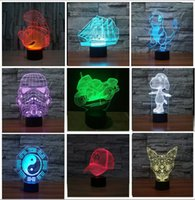 Wholesale Switch Usb Lamp - Colorful USB Star Wars Storm Trooper Motorcycle Tai Chi Smooth Sailing 3D Lamp LED Night Light Touch Switch Home Party Cafe Decor lighting