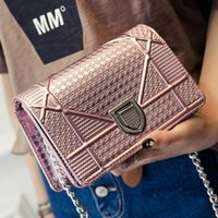 Wholesale Pink White Evening Bag - Famous designer brand 2017 Women Messenger Shoulder Bags Patent Leather Clutch Chain Evening Socialite Tote Main Female Handbag Sequins bag