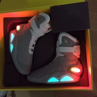 Wholesale Glowing Glitter Dark - AIR Mag Marty McFlys Sneakers LED Back To The Future Glow In The Dark Men Basketball Shoes Sneaker Gray top quality size 7-12