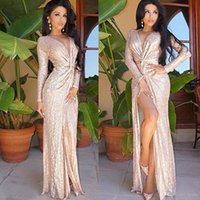 Wholesale Deep V Knot - evening dress Sequin pure color rose bright gold pieces long-sleeved ruffle knot deep V split prom long dress