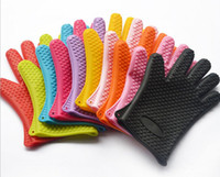 Wholesale Oven Cooking - Silicone Kitchen Cooking Gloves Microwave Oven Non-slip Mitt Heat Resistant Silicone Home Gloves Cooking Baking BBQ gloves Holder