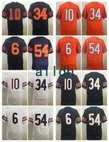 Wholesale Embroidered Kid - Cheap 10 Trubisky 34 Payton 54 Urlacher 6 Cutler Throwback Navy Blue White Orange Throwback Embroidered Men Women Youth Kids Mix Order