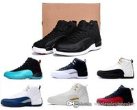 Wholesale Nylons Online - hot air retro 12 wool mens basketball shoes man sneaker Black Nylon discount shoes flu game french blue the master sports shoes sale online.