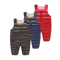 Wholesale Winter Bib Overalls - 2016 autumn and winter warmth Children down pants overalls baby boys and girls thick trousers children bib Kids