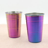 Wholesale Travel Juice Cup - 304 Stainless Steel beer cup Water Cups Travel Mugs Camping Picnic Juice Cup 500ml rainbow color single layer water cups LJJK710