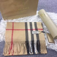 Wholesale Top Tartan Scarf - Winter Top Unisex 100% Cashmere Scarf Women and Men 2018 luxury brand Plaid Scarfs echarpe Pashminas Women shawls and scarves free shipping