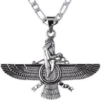 Wholesale Pt Necklace - Wholesale- Large Silver Pt Farvahar Necklace Iran Persian Gift Pahlavi Iranian Faravahar
