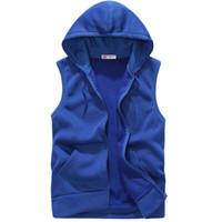 Wholesale Wholesale Slim Fit Hoodies - Wholesale-EAS 2016 New Fashion Casual Mens Sleeveless Hoodies Slim Fit s Hip Pop Vest Waistcoat Zipper Hoodies Sweatshirts For Men