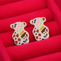 Wholesale Wholesale Titanium Earrings - Cute teddy bear titanium steel color green drip stud earrings