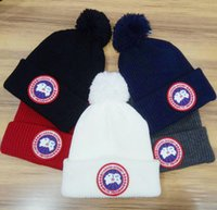 Wholesale Sports Caps Fitted - Tide brand Canada Goosess brand men winter beanie men casual wool knitted sports cap ski gorro black grey blue red hight quality skull caps