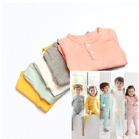 Wholesale Long Sleeve Bodysuit 12 Months - Baby Clothing Cotton Boys Girls Baby Pajamas 2PCS Set Long Sleeve Tops Pants Newborn Sleepsuit Bodysuit Children Kids Winter Clothing 382