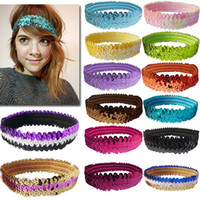 Wholesale Stretch Sequin For Headbands - Solid Colors Stretch Sequin Headband Team Headband for Teenagers Women 32 color