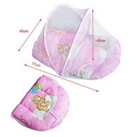 Wholesale Canopies For Beds - Wholesale- Portable Baby Bed Crib Folding Mosquito Net Insect Cradle Bed Netting Canopy Cushion Mattress For Infant Mattress Pillow