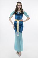 erwachsene indische halloween-kostüme großhandel-2017 neue Erwachsene Ägyptischen Göttin Blaues Kleid Sexy Cosplay Halloween Kostüme Club Stage Performance Kleidung Drop Shipping Heißer Verkauf