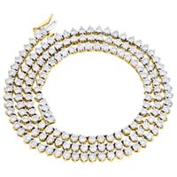 """Wholesale Martini Necklace - 10K Yellow Gold Diamond 1 Row Necklace 22"""" Martini Prong 4mm Tennis Chain 6.5 CT"""