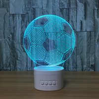3D Football LED Illusion Lâmpada Bluetooth Speaker com 5 luzes RGB TF Card Slot CC 5V USB de carregamento Atacado Dropshipping