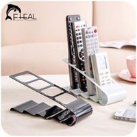 Wholesale Tv Remote Caddies - Metal Four Lattice Remote Storage Rack TV DVD VCR Step Remote Control Mobile Phone Holder Stand Storage Caddy Organiser Tools