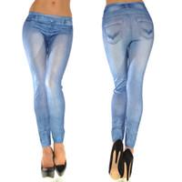 calça lycra mulher azul venda por atacado-Atacado-Hot Moda Feminina Cinza / Blue Jeans Olhar Skinny Leggings Calças Justas Elásticas Jeggings Magro Denim Calças Lápis Sexy Lavado Calças