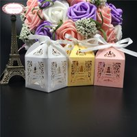 Wholesale Wholesale Tower Boxes - Wholesale- 10PCS Wedding Candy Box Chocolate Packaging Paris Eiffel Tower Personalized Weddign Box Mariage Favors And Gifts Baby Shower