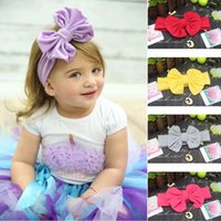 Wholesale Toddlers Head Wraps - Bow Baby Headbands Cotton Baby Head Wraps Handmade White Headbands Photography Props Girls headband Elastic Infants and Toddlers Hair Wear