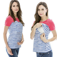 Wholesale Nursing Tops Maternity Clothes - Wholesale- Fashion Women Maternity Breastfeeding Clothes Ice Silk Summer Tees Print Nursing Top t-shirts