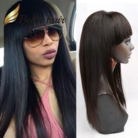 Wholesale Brown Virgin Hair Natural Straight - Glueless Full Lace Wigs with Bangs Natural Brown Color Straight Lace Front Virgin Human Hair Wig Raw Indian Bella Hair 360 Lace Wig