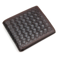 Wholesale Hand Made Leather Purses - Men Wallets Genuine Leather Hand Made Weave Leather Vertical Mens Bifold Short Wallet Money Clip Cowhide Leather Purse