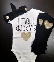Wholesale Heart Set Girl Legging - INS Baby girl toddler Summer cotton outfits 3piece set Bronzing romper onesies jumpsuits + legging + gold dots headband I Melt Daddy's Heart