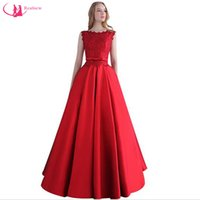 Wholesale Good Ladies Satin Dresses - Elegant Red Satin Evening Dress With Lace 2017 Scoop Neck Good Quality Ladies A-line Prom Dresses Graduation Party Gown