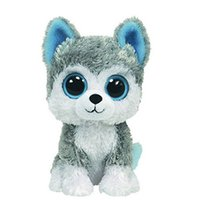 Wholesale Cute Animals Big Eyes - Wholesale- 1pc18cm Hot Sale Ty Beanie Boos Big Eyes Husky Dog Plush Toy Doll Stuffed Animal Cute Plush Toy Kids Toy