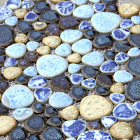 Wholesale Porcelain Walls - porcelain kitchen floor tile ceramic blue and white porcelain cobble mosaic HMCM1040 for mesh backing bathroom wall floor kitchen backsplash