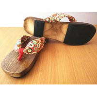 Wholesale Cotton Fabric Geta - Wholesale-2016 Trendy Hot Lady Bidentate Flip Flops Flower Sandals Slipper Shoes Japanese Geta Clogs Women Summer Wooden Slippers
