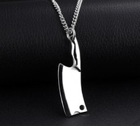 Wholesale Men Knife Pendant - 2017 New arrivla 316L Stainless steel 18KGold Silver Black colorful personality kitchen knife Pendant necklace for man