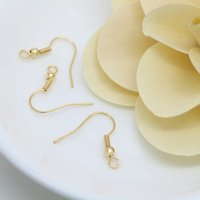 Wholesale Earrings Gold 24k Wholesale - Diy earring accessories material wholesale brass gold plated 24K package gold light surface simple ear with beads with spring hook 15*18 mm