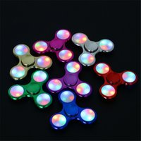 Wholesale Tri Color Led Lights - Electroplate Fidget Spinners LED Flash Light Fidget Spinner with Switch Metallic Color Tri-Spinner Hand Spinner Fingertips Decompression Toy