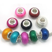 Wholesale New European Bead Brand - Brand New 100pcs Mix Colors Resin 925 stering core big hole loose beads fit European pandora jewelry Diy bracelet charms