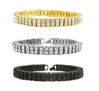 Mens Oro placcato Iced Out Cz Stones 2 Row Hip Hop Bracciale 8,07
