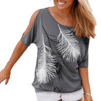 Wholesale Wholesale Crow Feathers - Wholesale- Slit Sleeve Cold Shoulder Feather Print Women Casual Summer T Shirt Girl 2016 Tee Tshirt Loose Top T-Shirt plus size