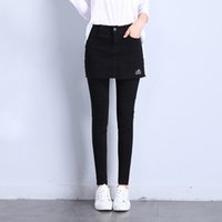 Wholesale Sexy Jeans Skirts - Fashion Sexy Skirt Pant Woman Jeans add Denim Skirt for Lady Slim Solid Black Pocket Zipper for Autumn