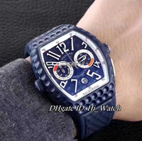 Super Clone Luxury FM Vanguard Backswing Limited Edition Хронограф Силиконовый Ant-shock Golf Sports Мужские часы Rubber All Blue Bezel Dial