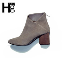 Wholesale Ladies Korean Boots Heels - Wholesale- HEE GRAND High Heel Boots 2016 Korean Style Fashion Women Ankle Boot Gray Black Zipper Thick Heel Basic Shoes For Ladies XWX3167