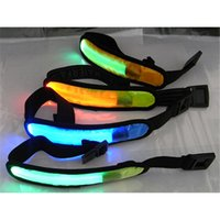 Wholesale Reflective Straps - DHL 2017 High Quality LED Safety Reflective Belt Strap Arm Band Armband Outdoor Sports Night Cycling Running Band Belt Replaceable Battery