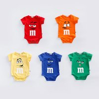 Wholesale Cotton Expression - Baby boy girl INS Emoji Movie letters triangle rompers Children cartoon expression cotton Short sleeve rompers suits baby clothes B001