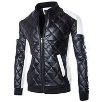 Wholesale leather jacket blue man - New Men's motorcycle jackets Black White casual Collar stitching leather jacket coat Padded Coat Overcoat Parka Men Winter Coats M-5XL