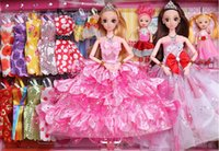 Wholesale 2017 The New The big Gift Wedding Suit Dress Doll Princess Girls Play Compatible Bobbi Doll Toys for Children Dimensional Blink