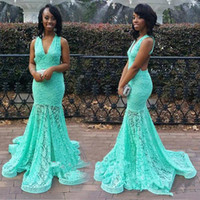 Wholesale Tank Bandage Backless Dress - Sexy Mermaid Lace Blue Evening Dresses V-Neck Tank Backless New Arrival Sweep Train Special Occasion Gowns Prom Free Shipping