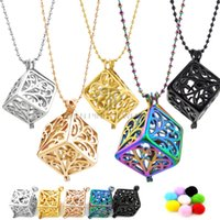Wholesale Hollow Box Lockets - Square Hollow Out Life Tree Box of Necklace Aromatherapy Essential Oil Diffuser Locket Pendant Necklaces For Women
